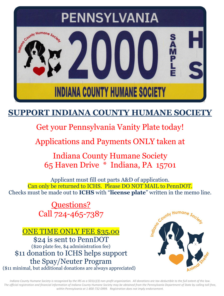 PA-License-Plate-Flyer-2013 | Indiana County Humane Society