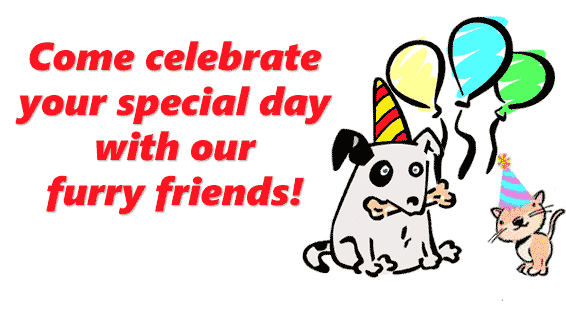 Come celebrate your Special Day with our furry friends!