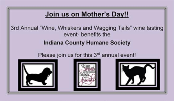 "3rd Annual ""Wine, Whiskers and Wagging Tails"" wine tasting"
